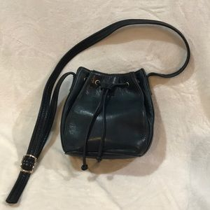 Tignanello Deep Blue All-Leather Bucket Crossbody